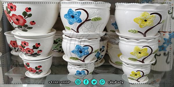 فروش عمده گلدان سرامیکی رنگی