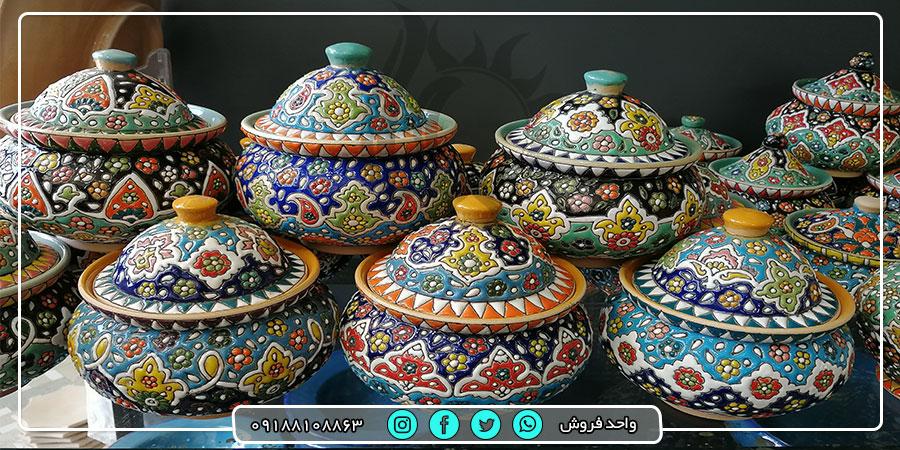 فروش عمده ظروف سفالی میناکاری شده از لالجین