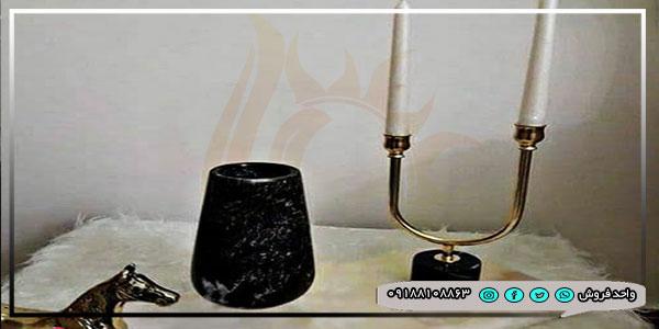گلدان و جا شمعی با سنگ